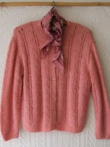gilet vintage tricoté main rose