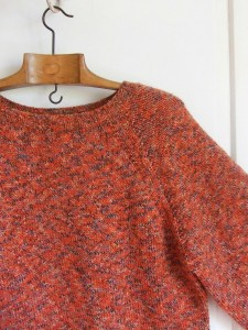 pull chiné orange raglan vintage