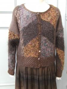 gilet 80s marron vintag tricoté main