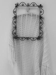 chale crochet vintage crème