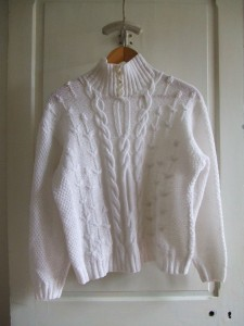 pull blanc torsades tricoté main
