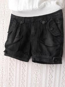short bloomer en jean noir
