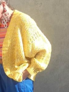 veste vintage gilet laine vintage jaune