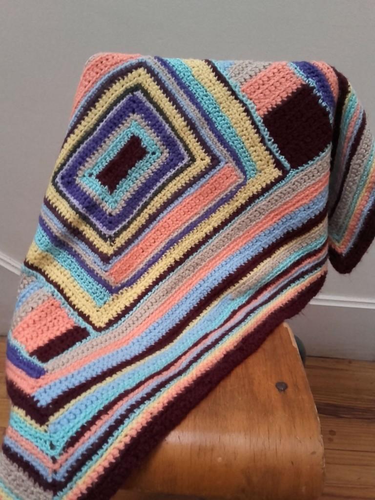 couverture enfant crochet vintage