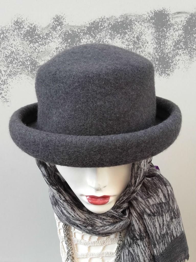chapeau en feutre gris vintage hat grey