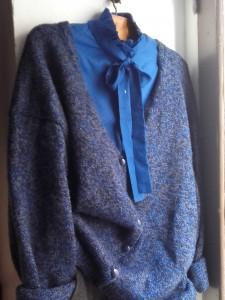 gilet chiné gris bleu vintage
