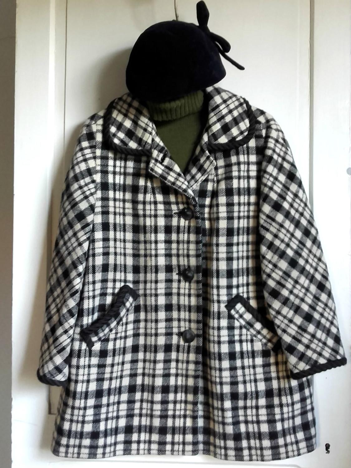 manteau retro noir blanc quiche lorraine vintage. Black Bedroom Furniture Sets. Home Design Ideas