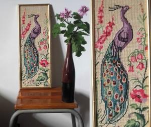 canevas tapisserie Paon