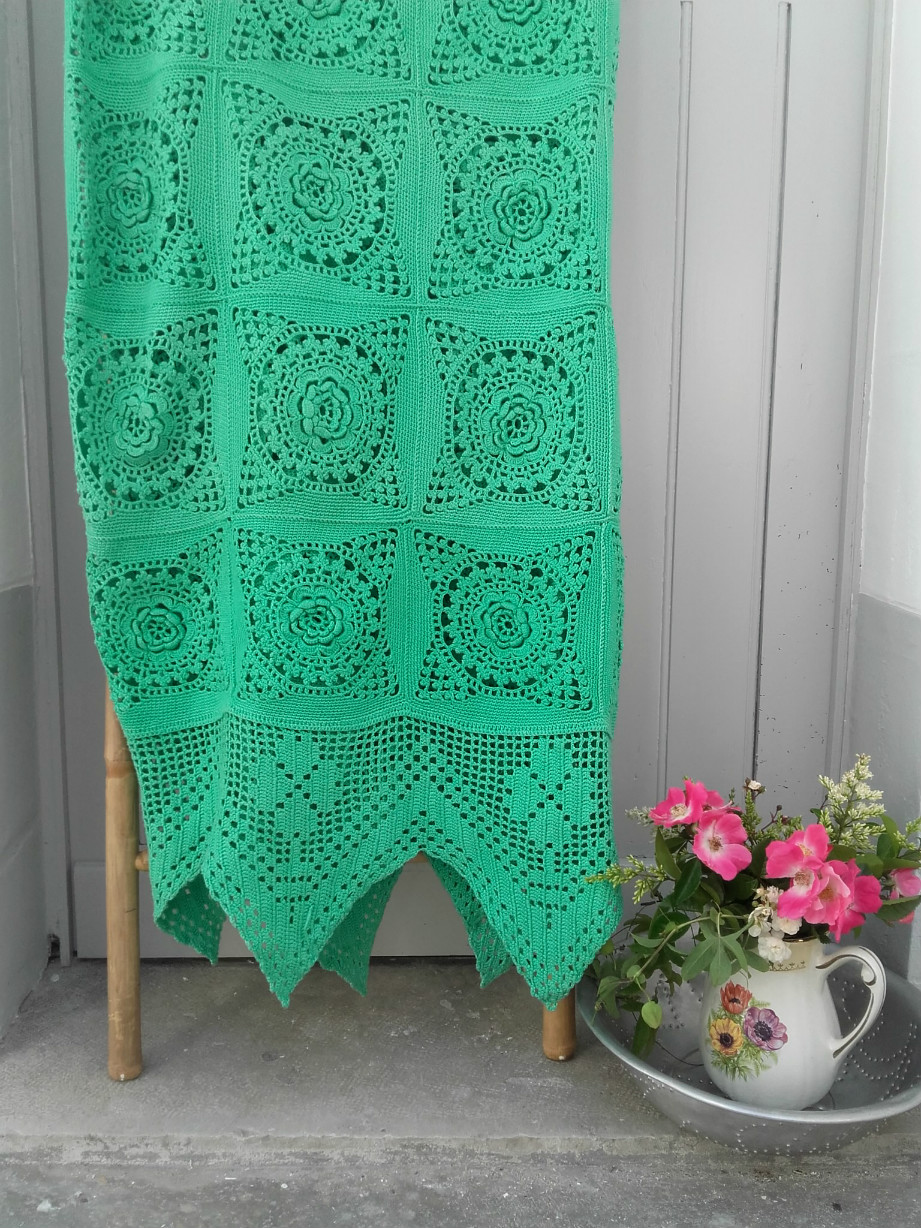 couvre lit au crochet en coton vert menthe quiche lorraine vintage. Black Bedroom Furniture Sets. Home Design Ideas