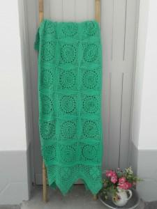 couvre lit crochet vintage vert