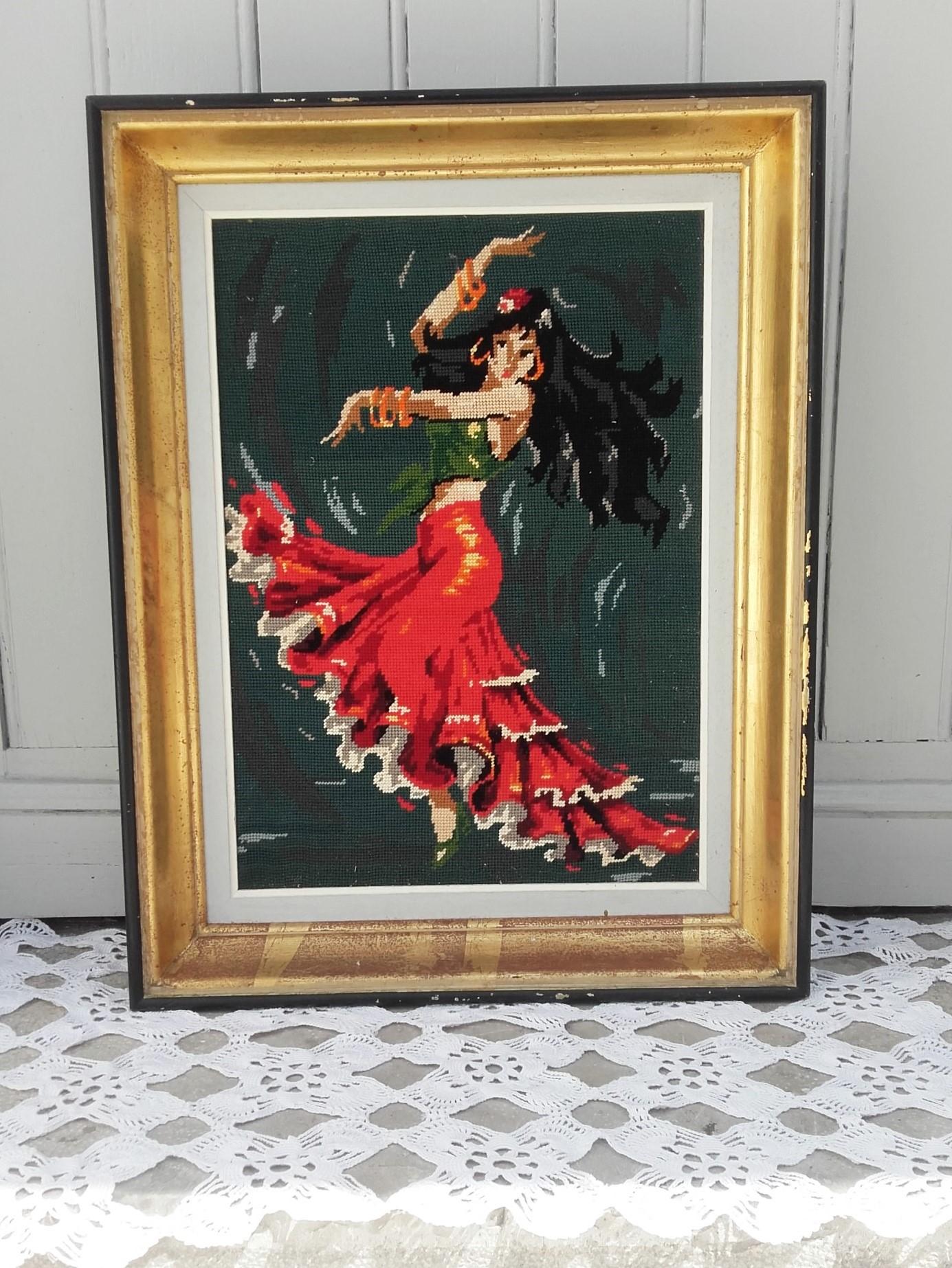 Canevas tapisserie flamenco quiche lorraine vintage - Objets vintage en ligne ...