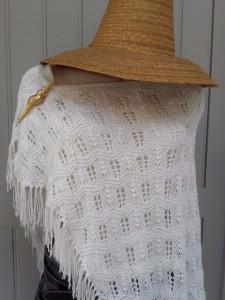 chale coton blanc vintage