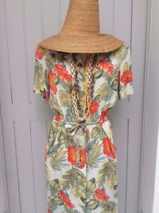 robe chemisier imprimé tropical