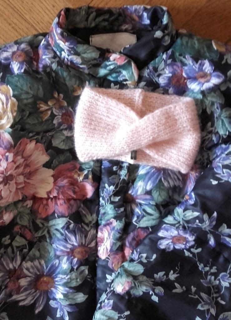 headband rose tricoté main