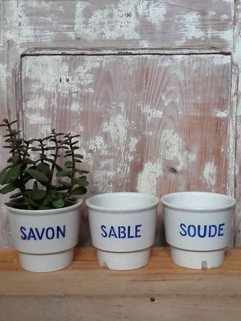 pots Savon Sable Soude pots de cuisine anciens