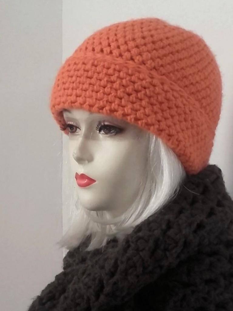 bonnet à revers abricot bonnet crochet fait main