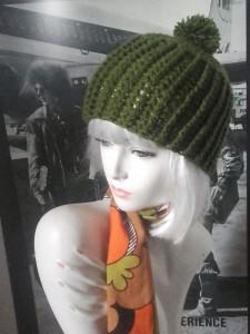 bonnet à pompon foulard 70s