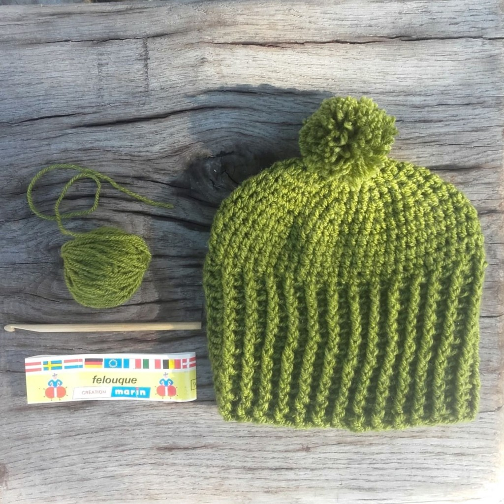 bonnet vert crochet fait main