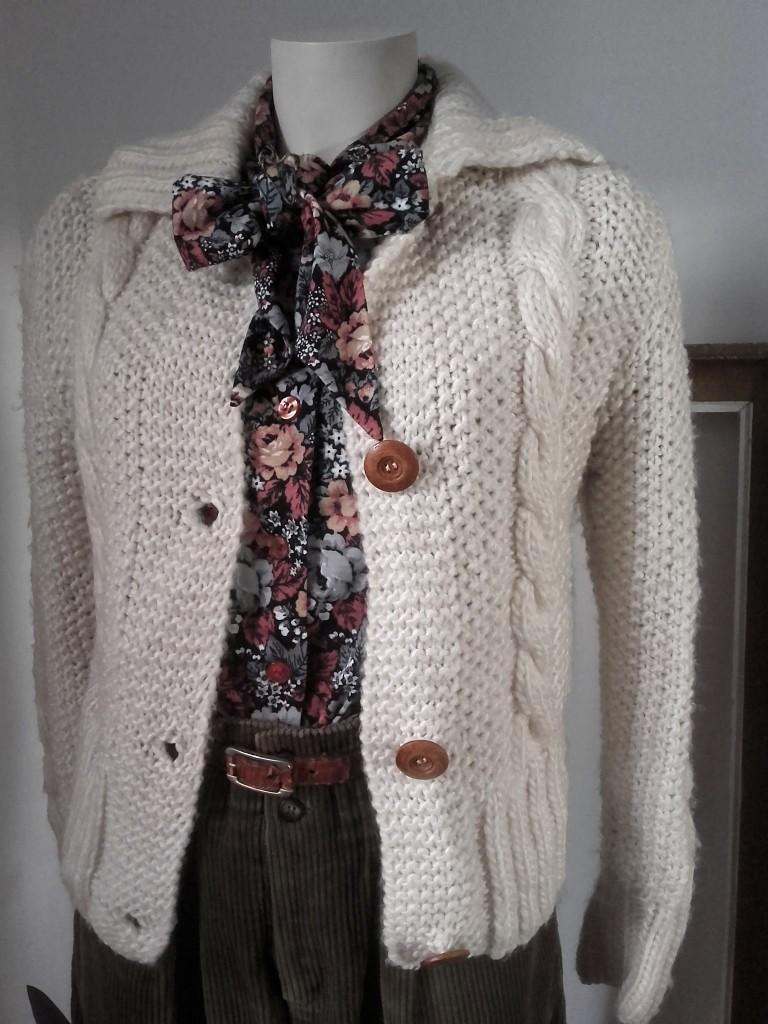veste torsades vintage pull vintage tricoté main