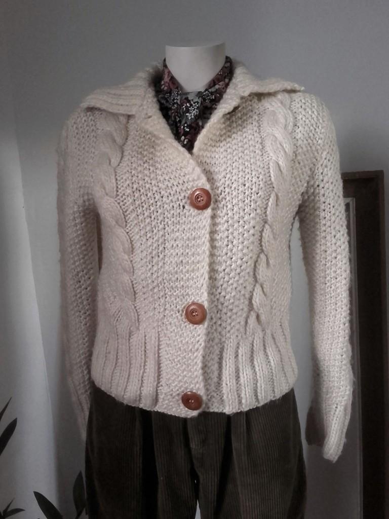 veste vintage torsades tricoté main