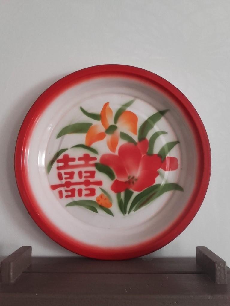 plateau émaillé China retro plateau email fleur