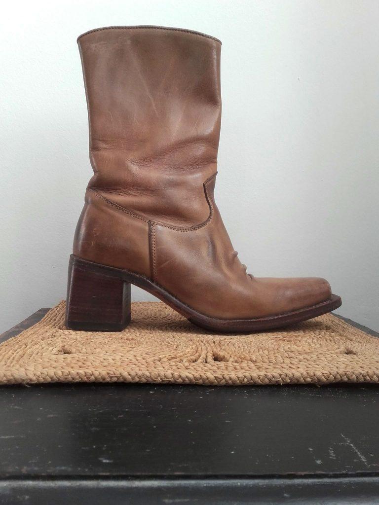 Boots en cuir naturel vintage 70s