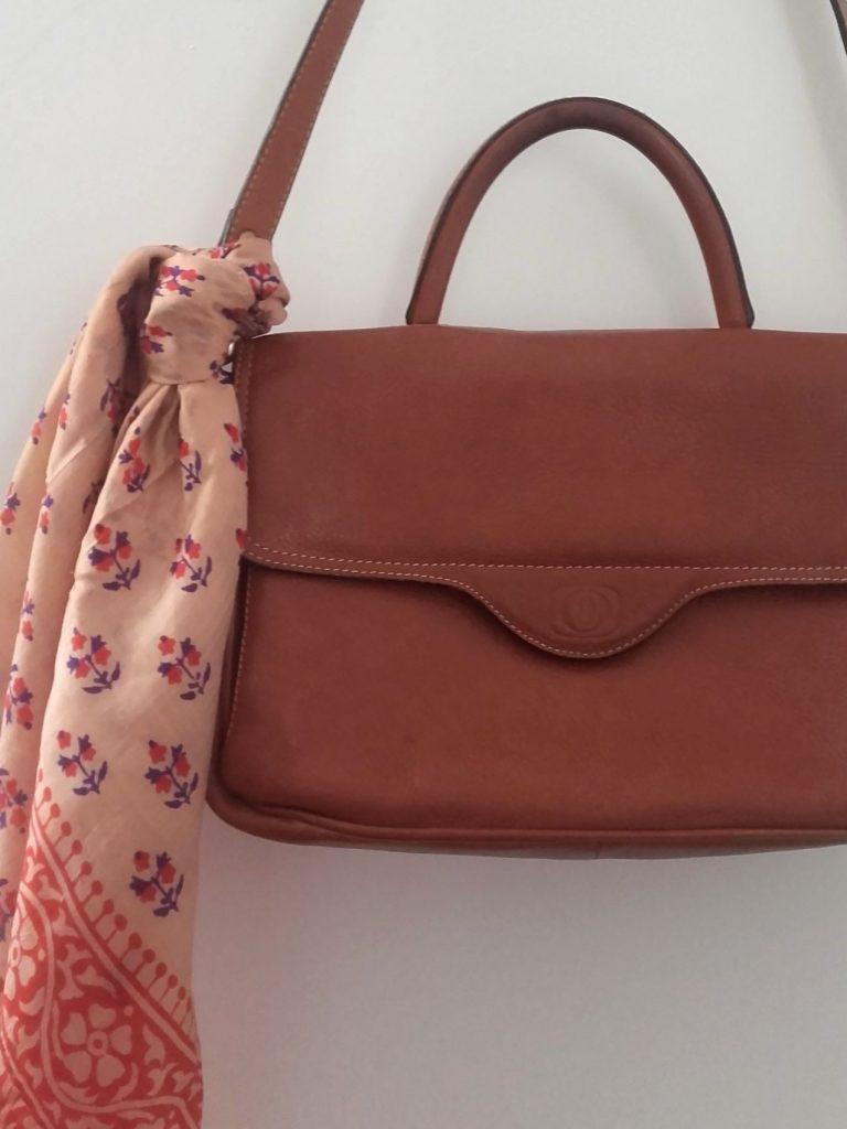 foulard soie indienne sac en cuir vintage
