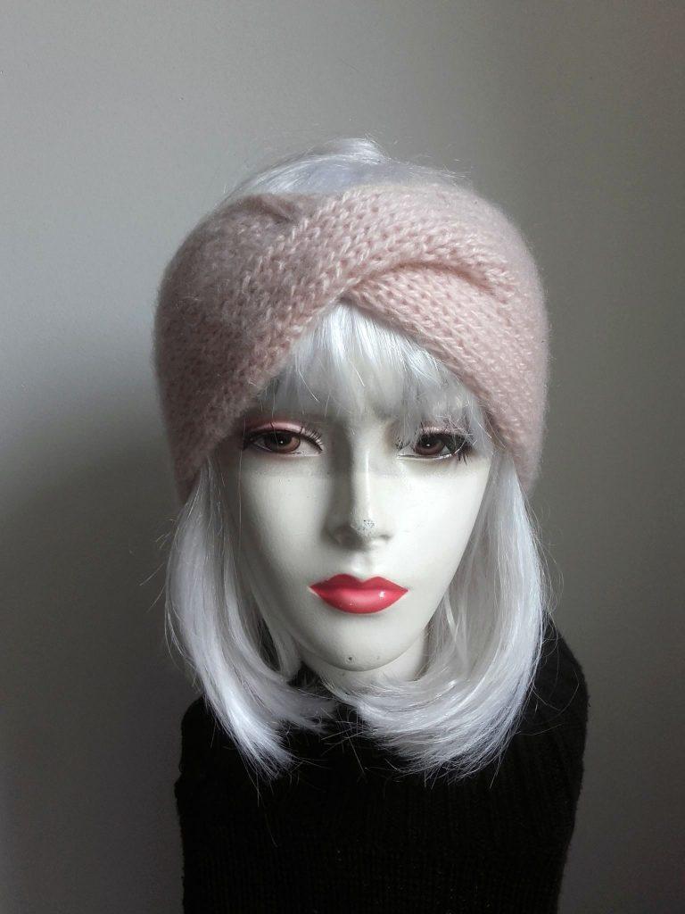headband tricot rose pâle