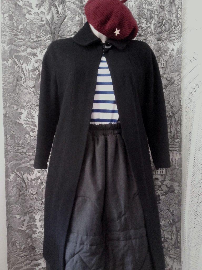 manteau retro noir manteau vintage coat 50s