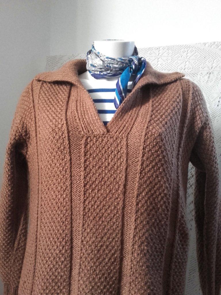 pull vintage tricoté main