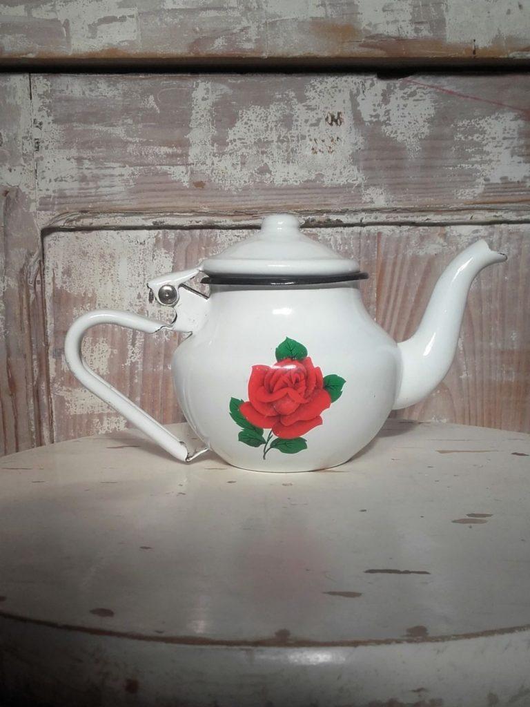 théière émail vintage enamel teapot