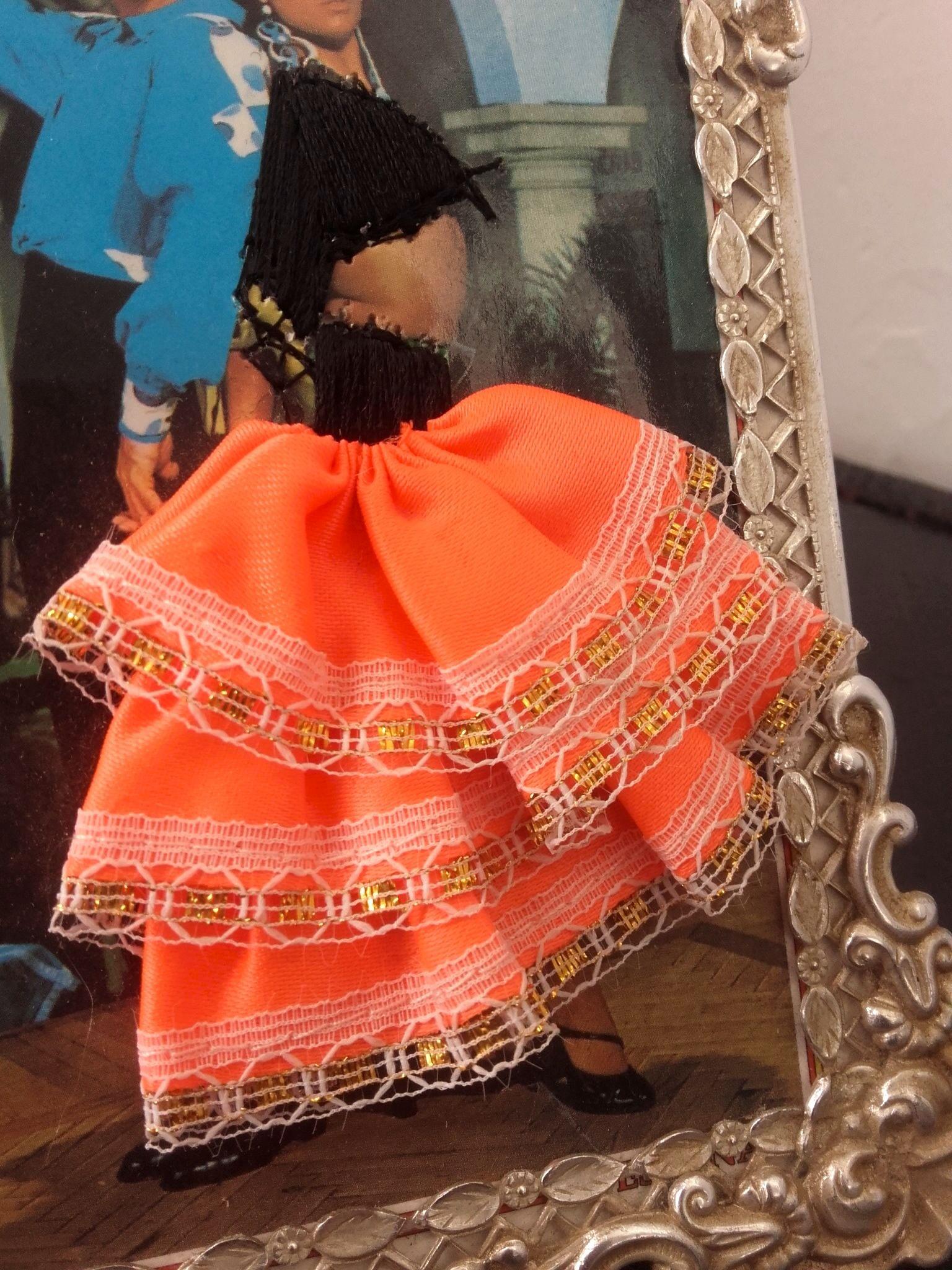 cadre Flamenco carte postale brodée - quiche lorraine vintage