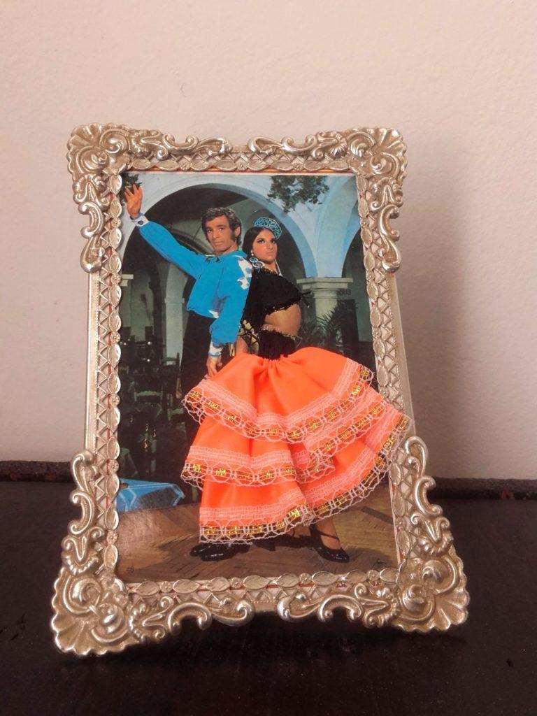 carte postale brodée flamenco